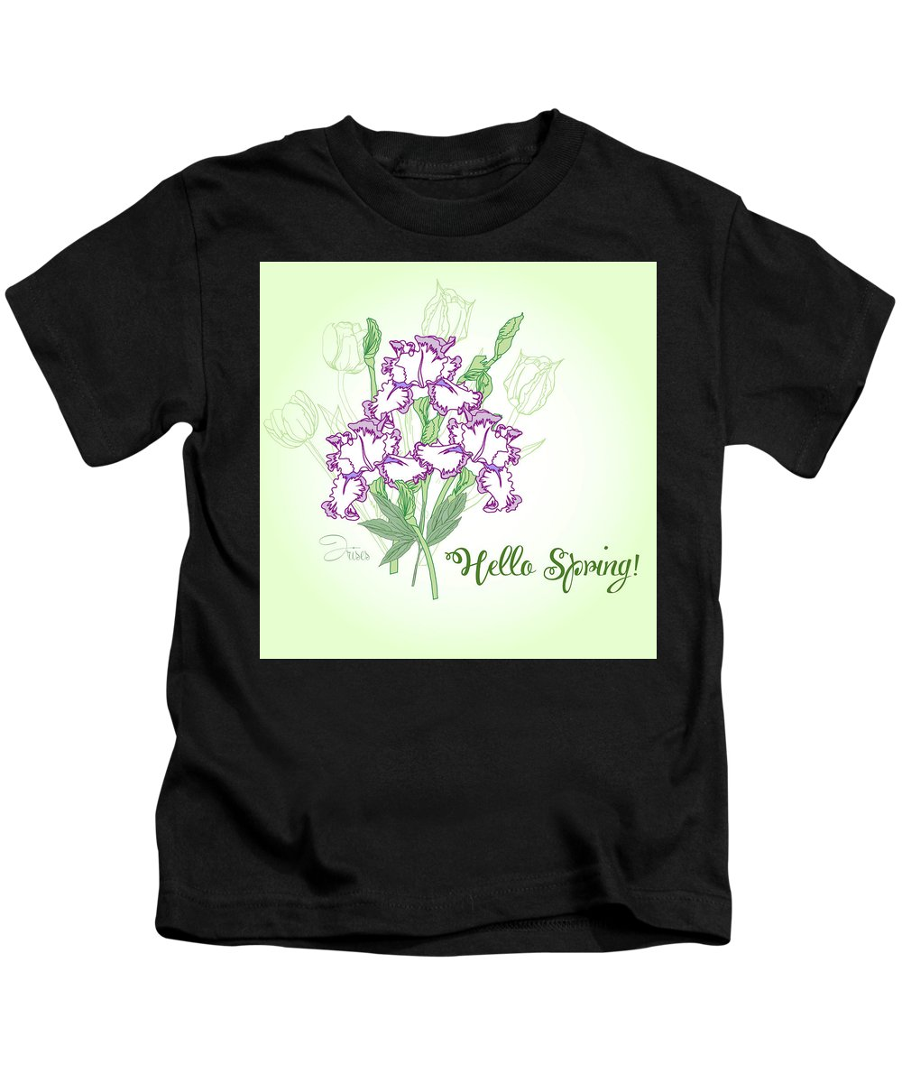 Tulip Kids T-Shirt featuring the digital art Spring Bouquet With Three Irises. by Natalia Piacheva