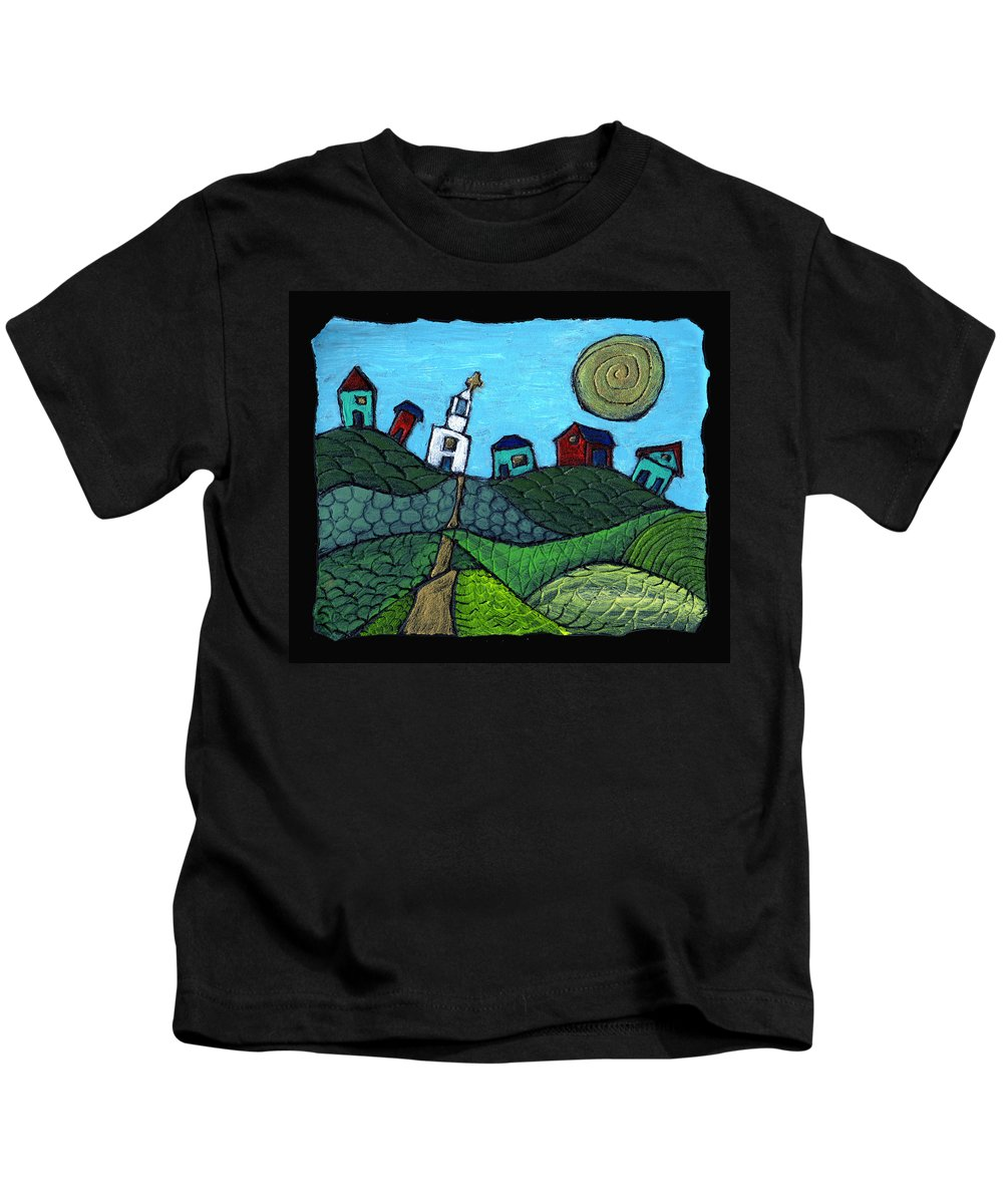 Whimsical Kids T-Shirt featuring the painting Spring Comes To The Valley by Wayne Potrafka