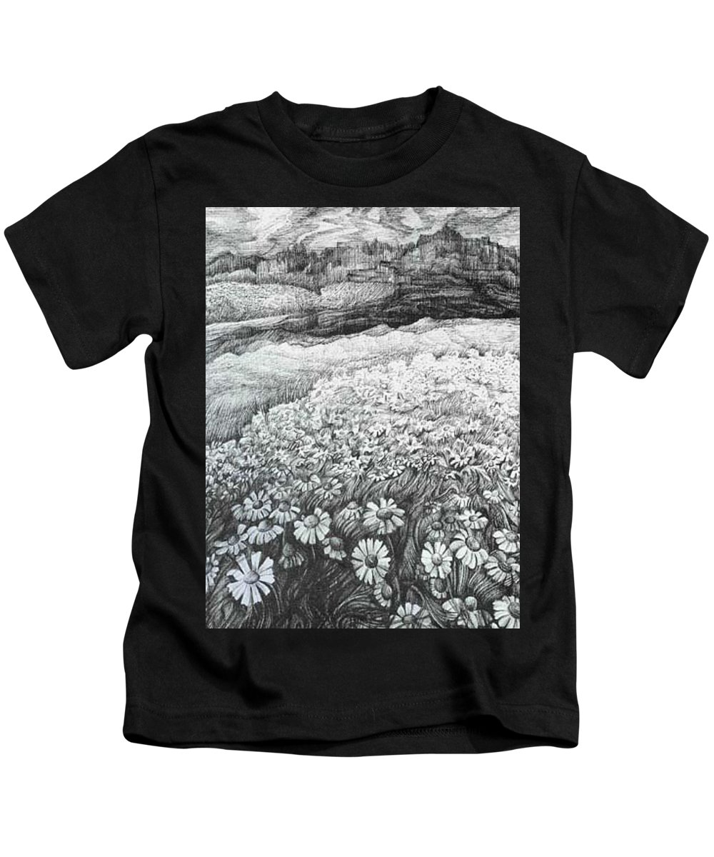 Flower Kids T-Shirt featuring the drawing Spring Flowers by Anna Duyunova