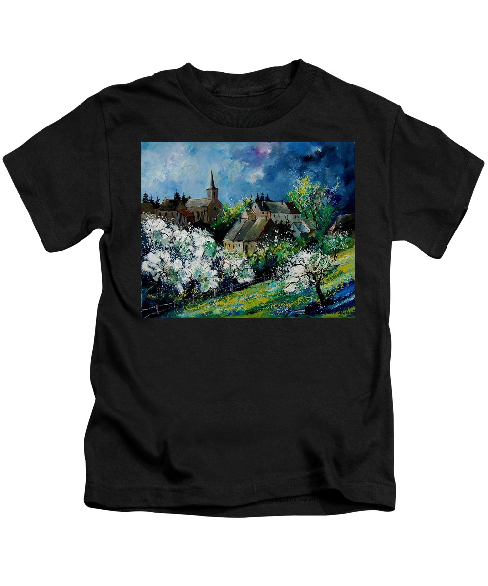 Spring Kids T-Shirt featuring the painting Spring In Fays Famenne by Pol Ledent