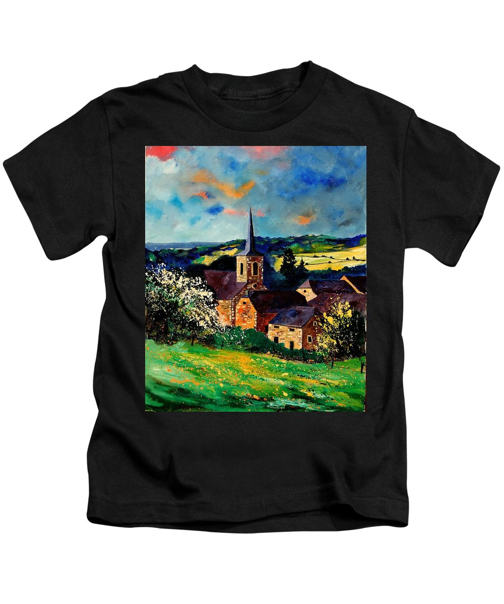 Spring Kids T-Shirt featuring the painting Spring In Gendron by Pol Ledent