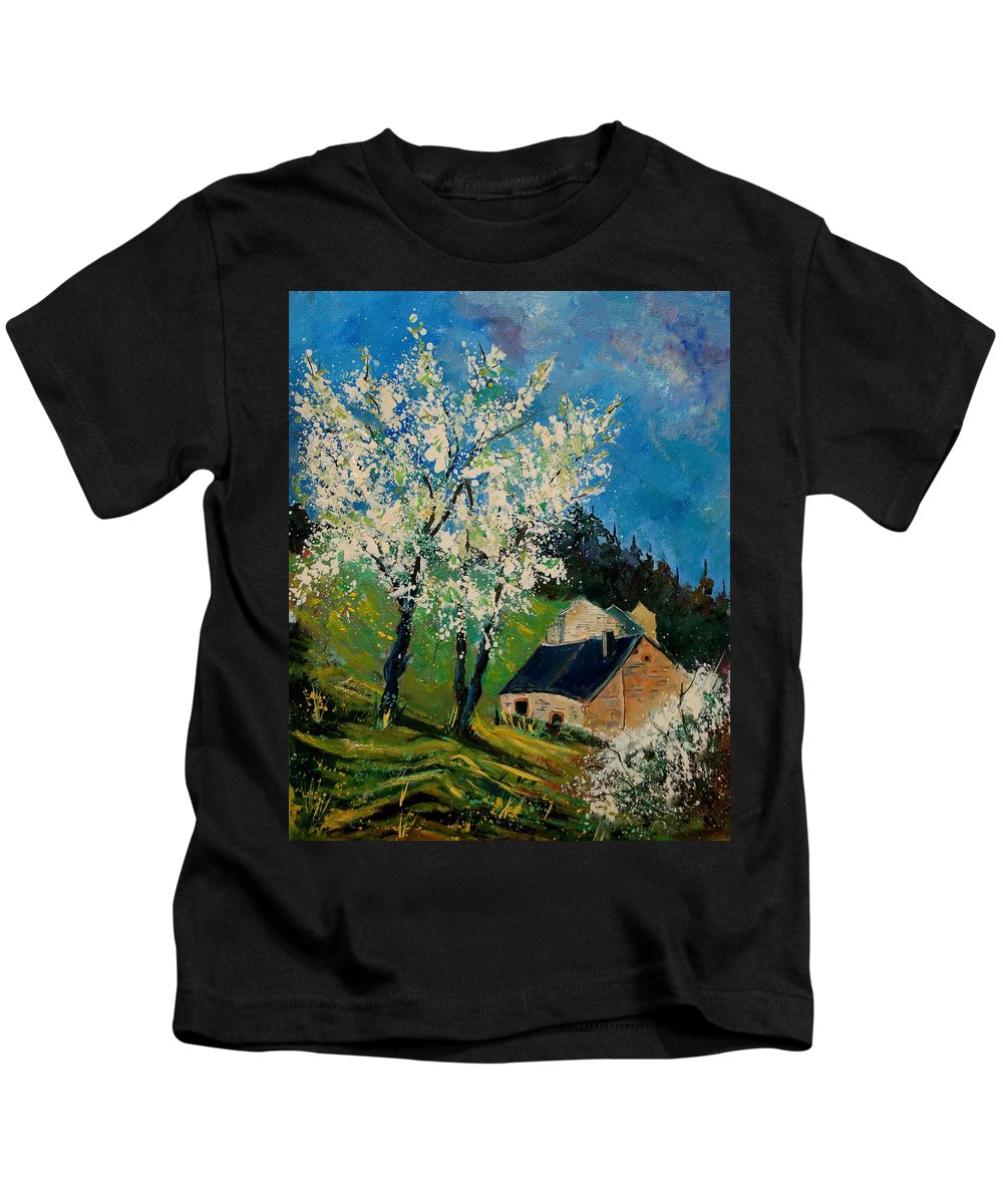 Spring Kids T-Shirt featuring the painting Spring In Hierges by Pol Ledent