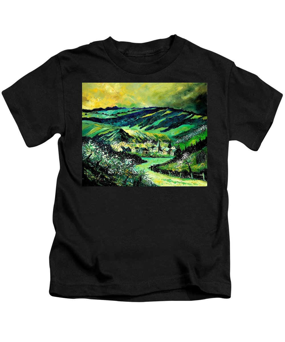 Landscape Kids T-Shirt featuring the painting Spring In Tha Ardennes by Pol Ledent