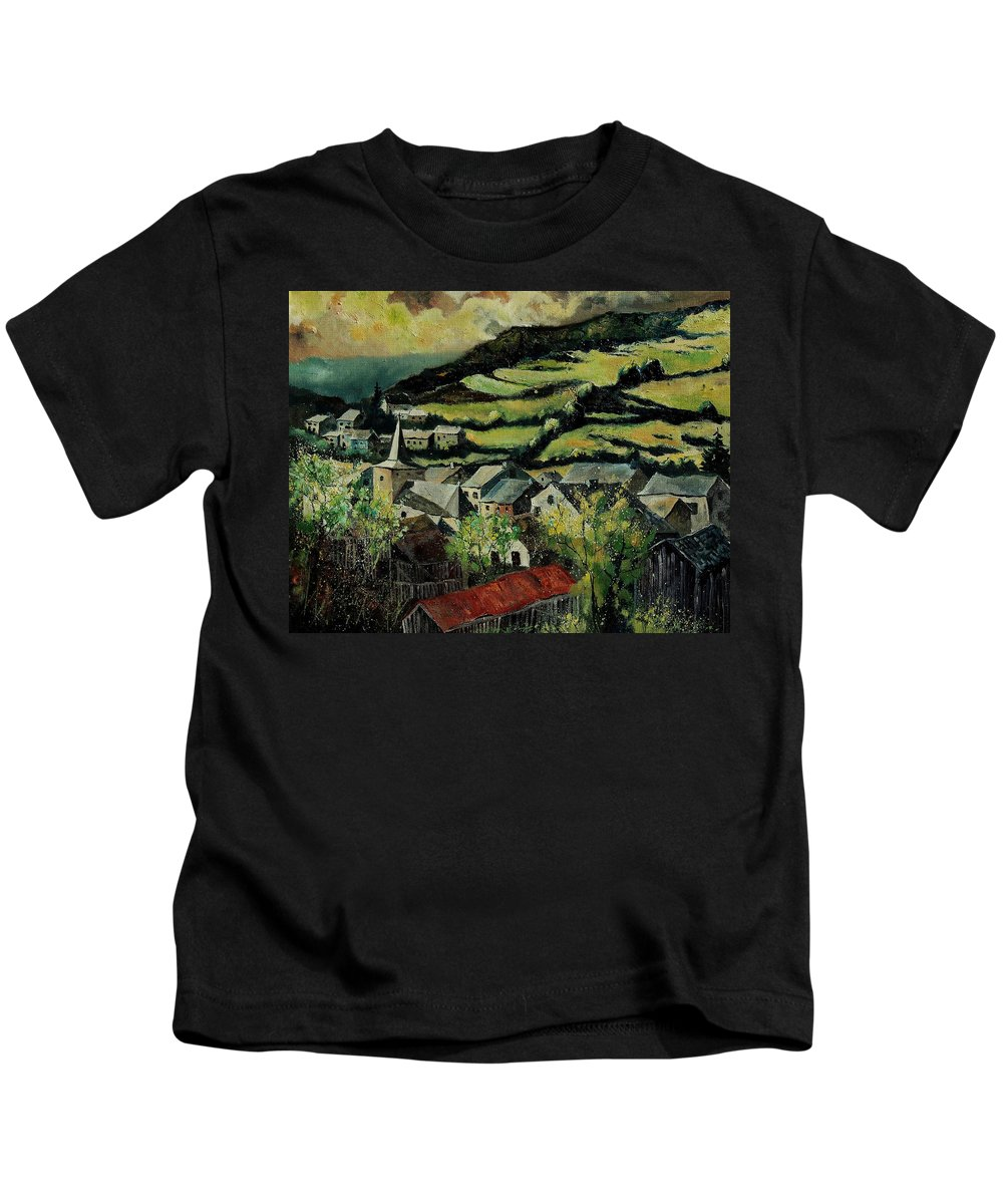 Spring Kids T-Shirt featuring the painting Spring In Vresse Ardennes Belgium by Pol Ledent