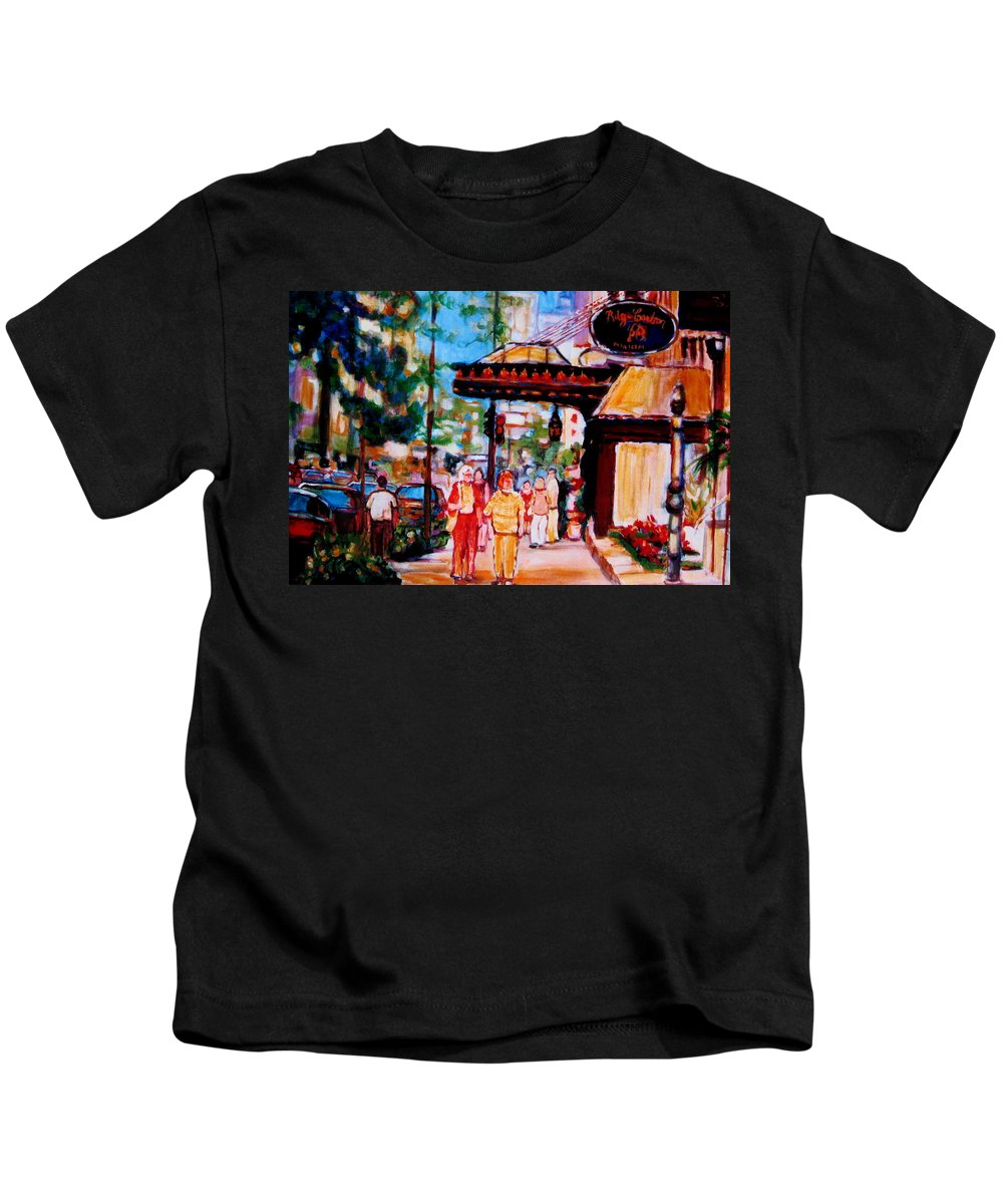 Montreal Streetscenes Kids T-Shirt featuring the painting Springtime At The Ritz by Carole Spandau