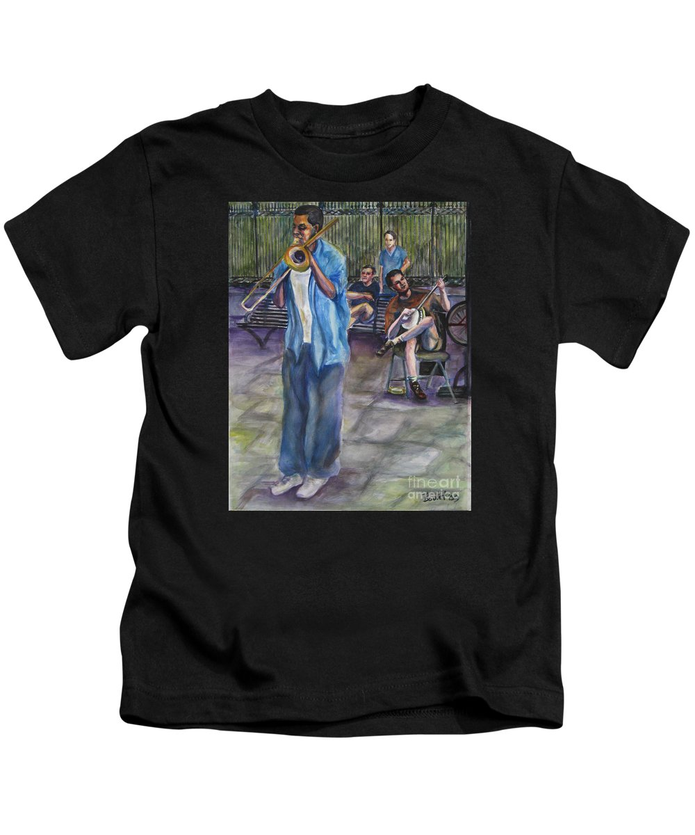 New Orleans Kids T-Shirt featuring the painting Square Slide by Beverly Boulet