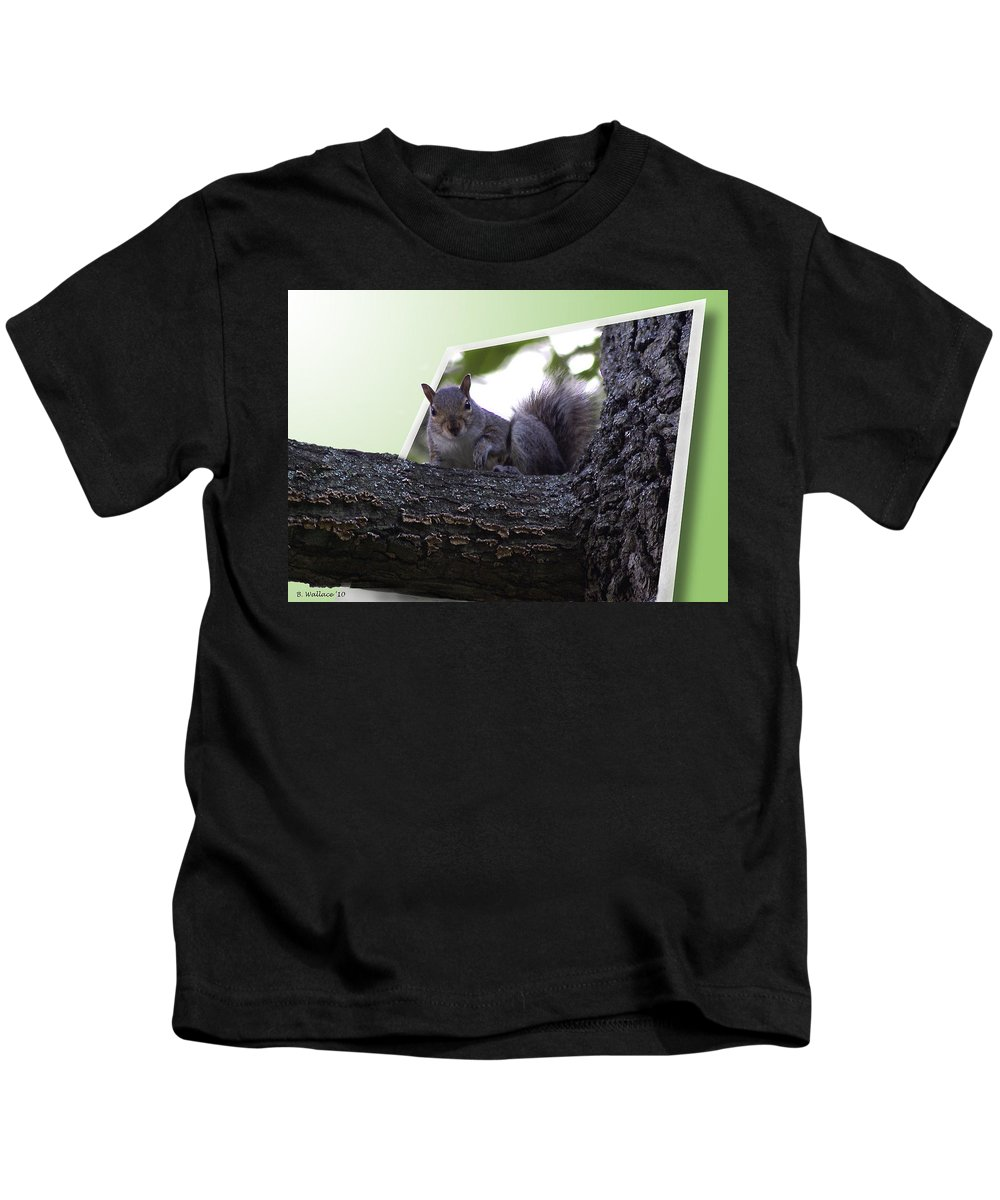 2d Kids T-Shirt featuring the photograph Squirrel On A Limb by Brian Wallace