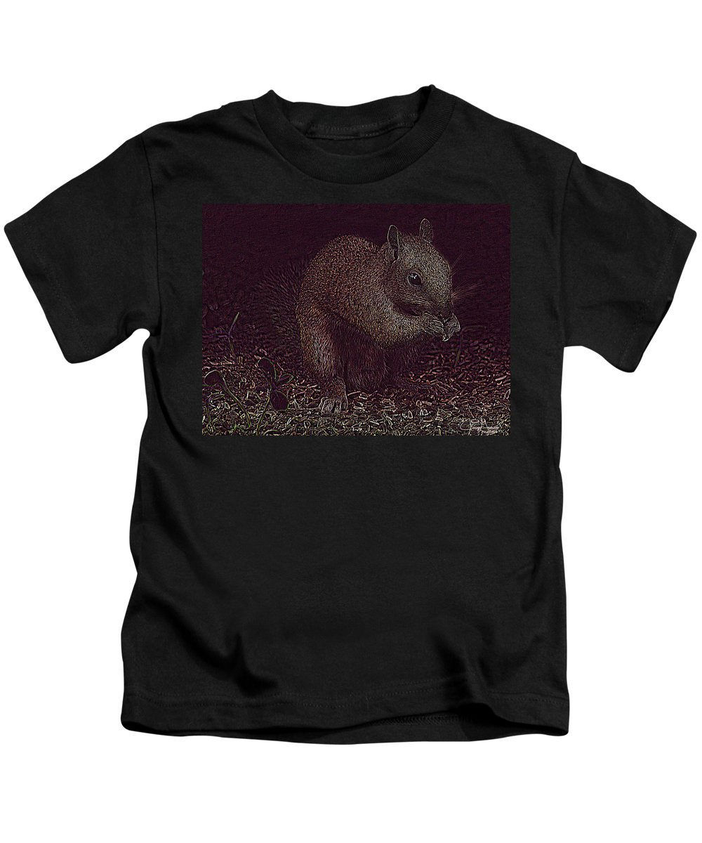 Jenny Gandert Kids T-Shirt featuring the photograph Squirrely Art by Jenny Gandert