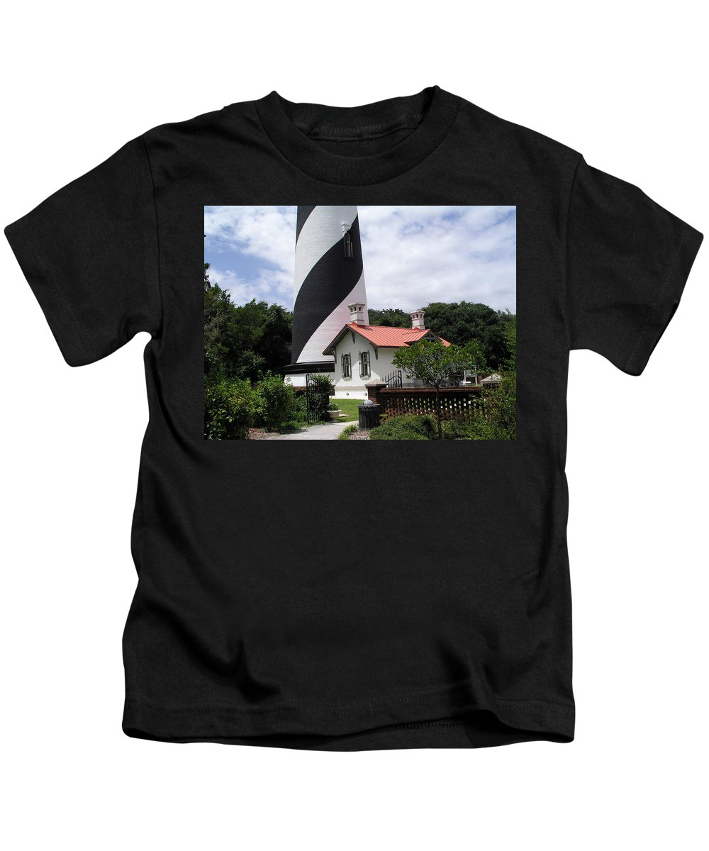 Cottage; Residence; Lighthouse; Light; House; Keeper; St. Augustine; Florida; Coast; Shine; Fog; Sto Kids T-Shirt featuring the photograph St. Augustine Light On The East Coast Of Florida by Allan Hughes