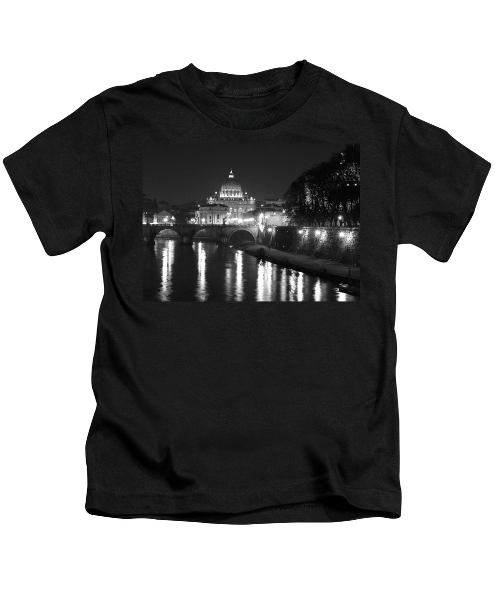 Italy Kids T-Shirt featuring the photograph St. Peters At Night by Donna Corless