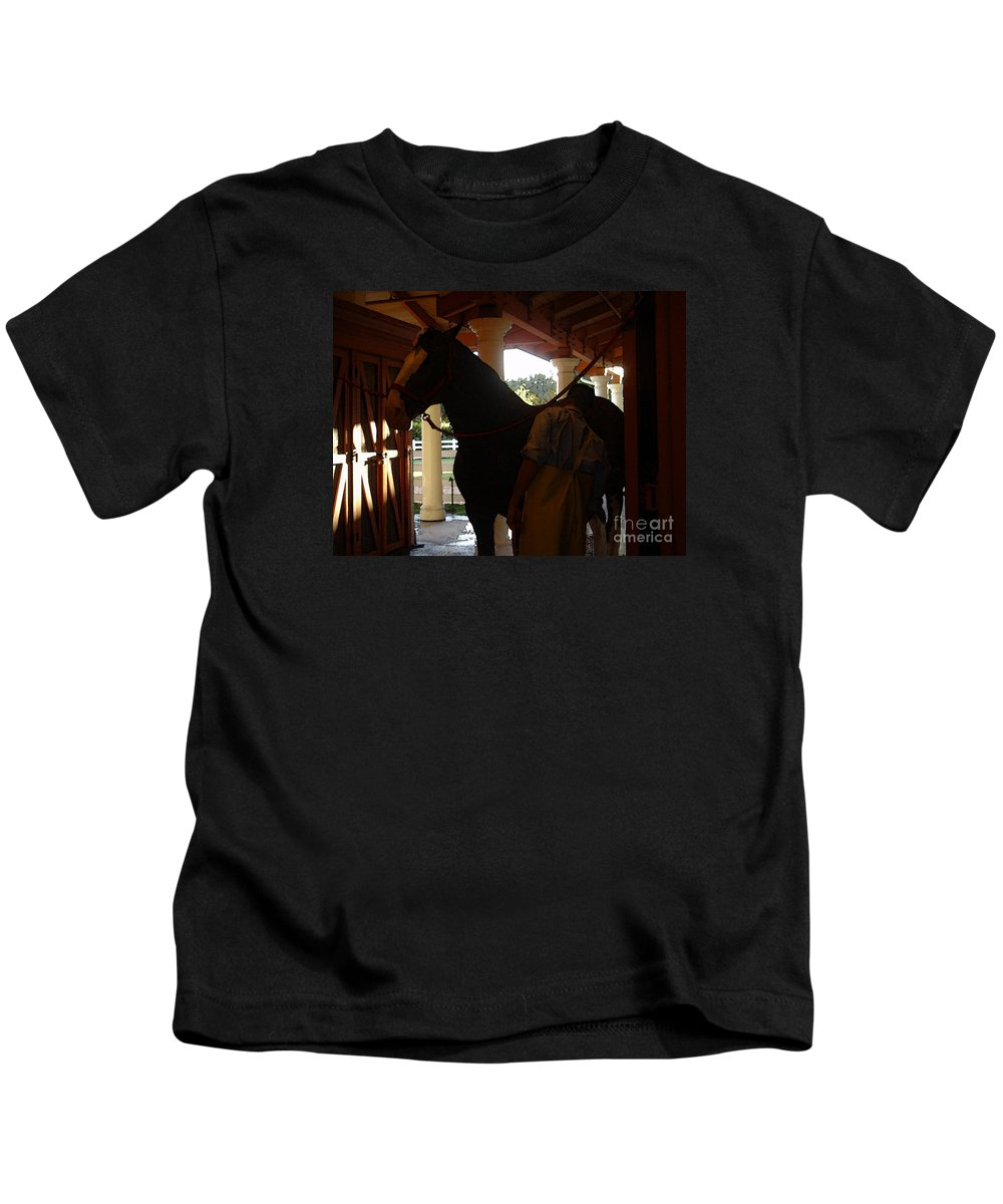 Horses Kids T-Shirt featuring the photograph Stable Groom - 2 by Linda Shafer