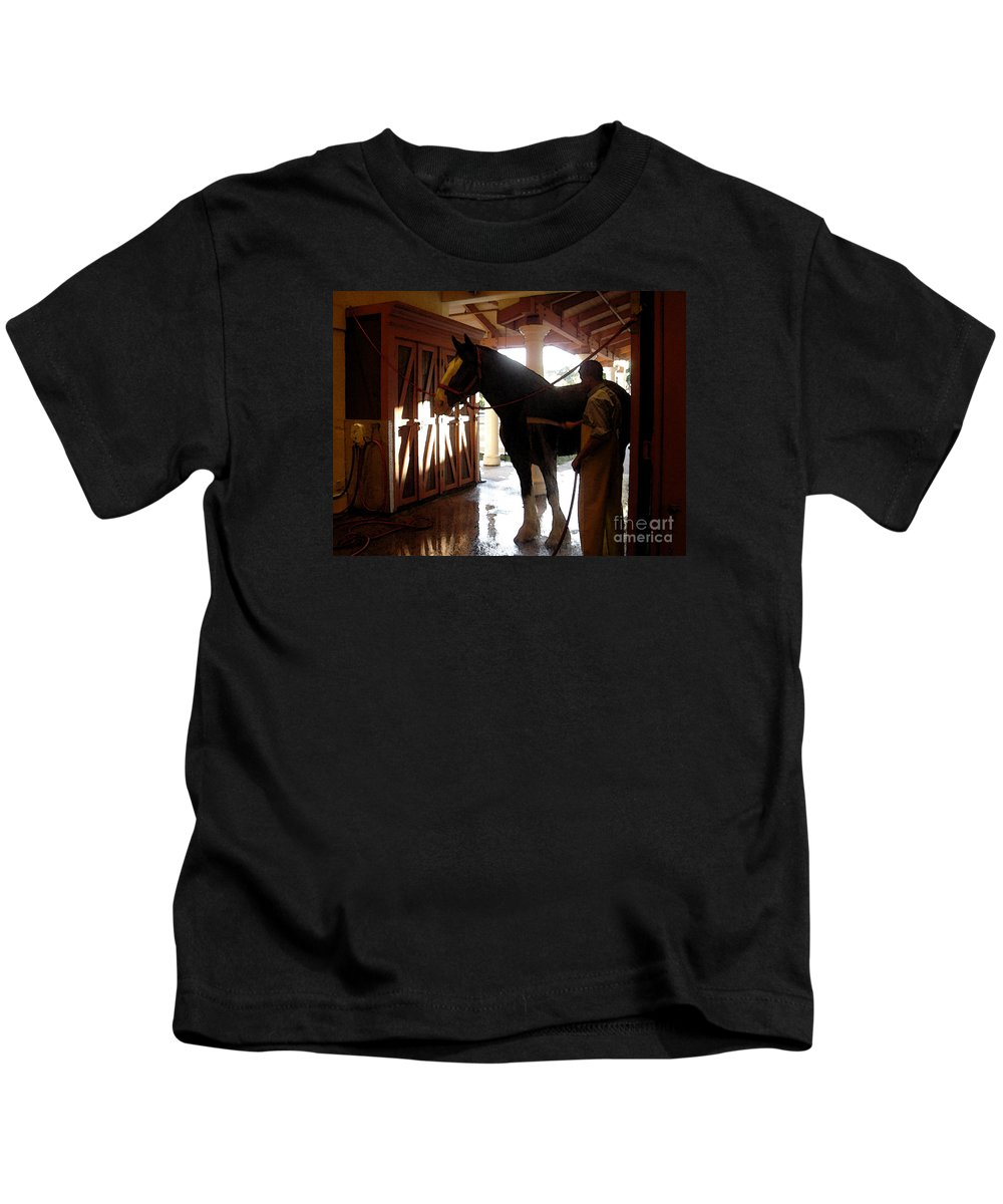 Horse Kids T-Shirt featuring the photograph Stable Groom - 1 by Linda Shafer
