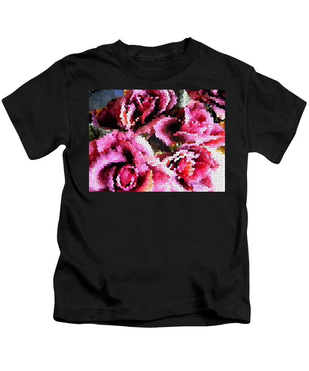 Abstract Art Kids T-Shirt featuring the digital art Stained Glass Roses 2 by Barbara Griffin