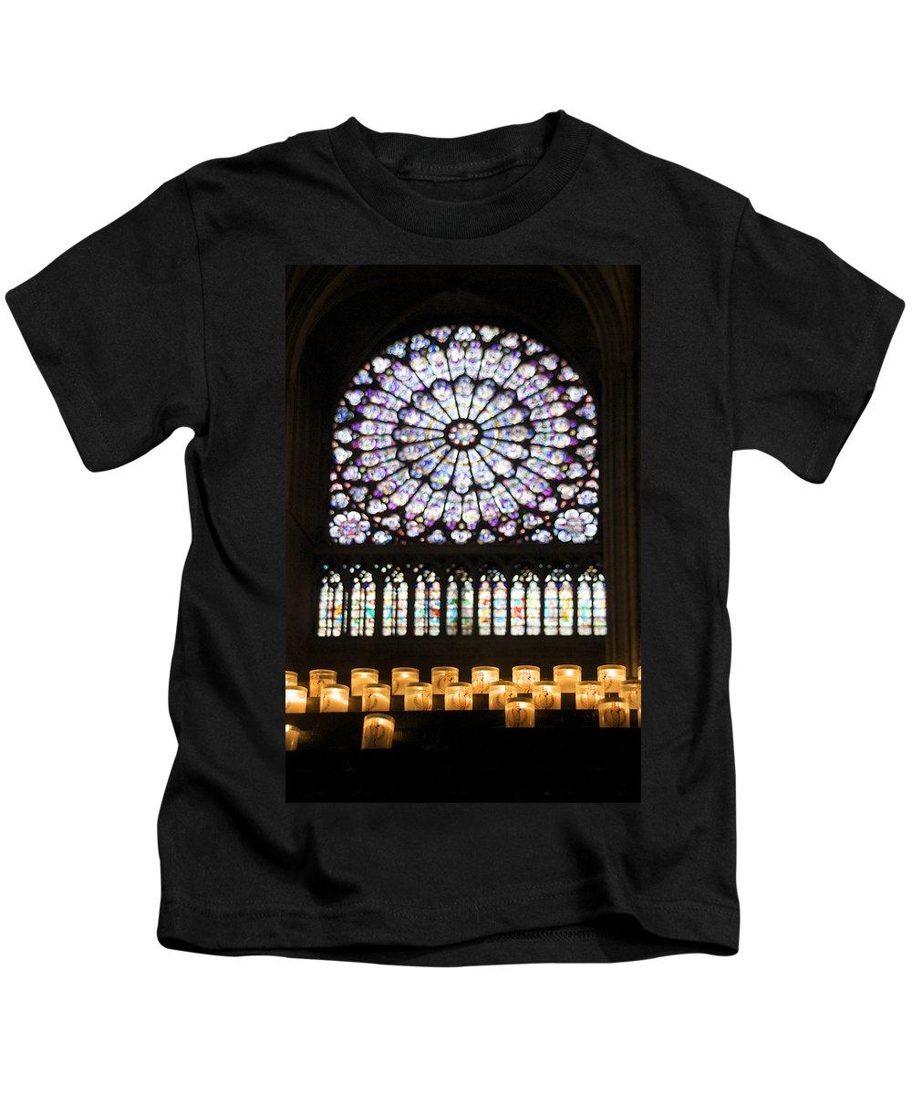 Paris Kids T-Shirt featuring the photograph Stained Glass Window Of Notre Dame De Paris. France by Bernard Jaubert