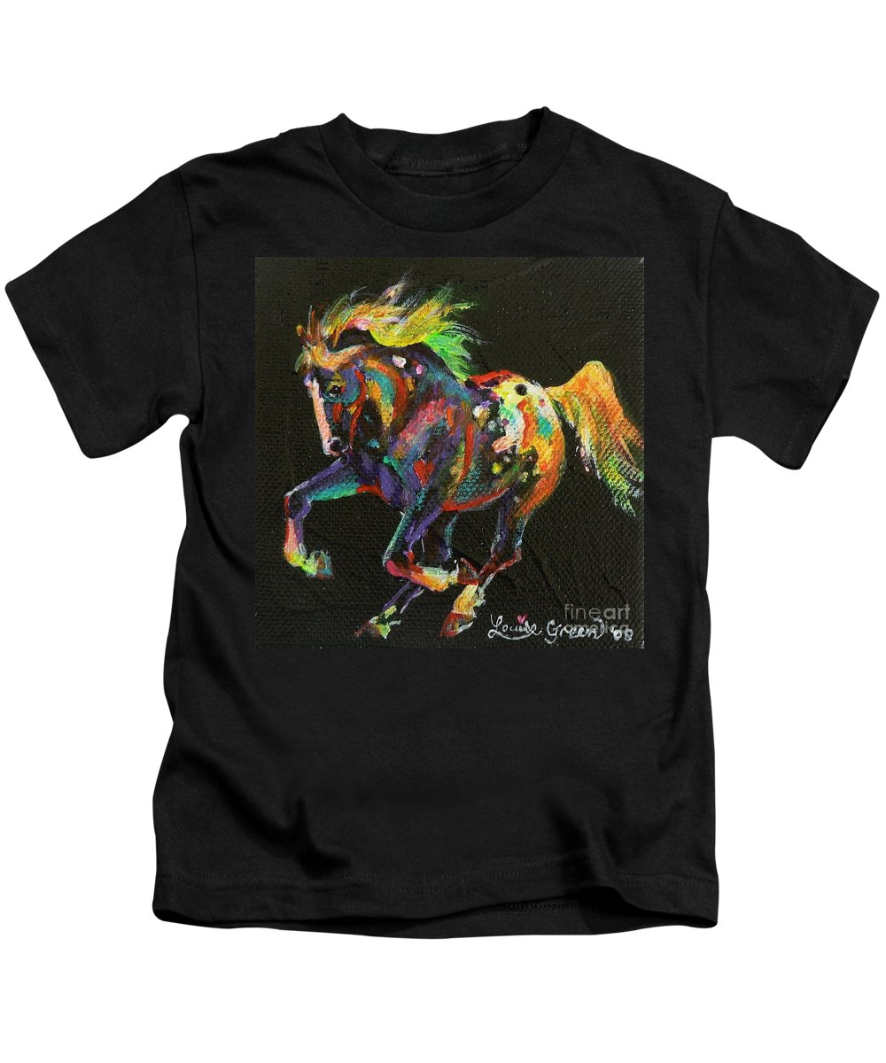Starburst Pony Kids T-Shirt featuring the painting Starburst Pony by Louise Green