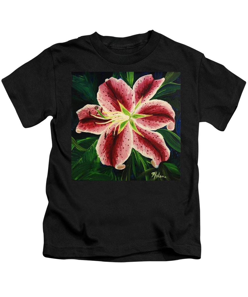 Flower Kids T-Shirt featuring the painting Stargazer Lily by Helene Thomason
