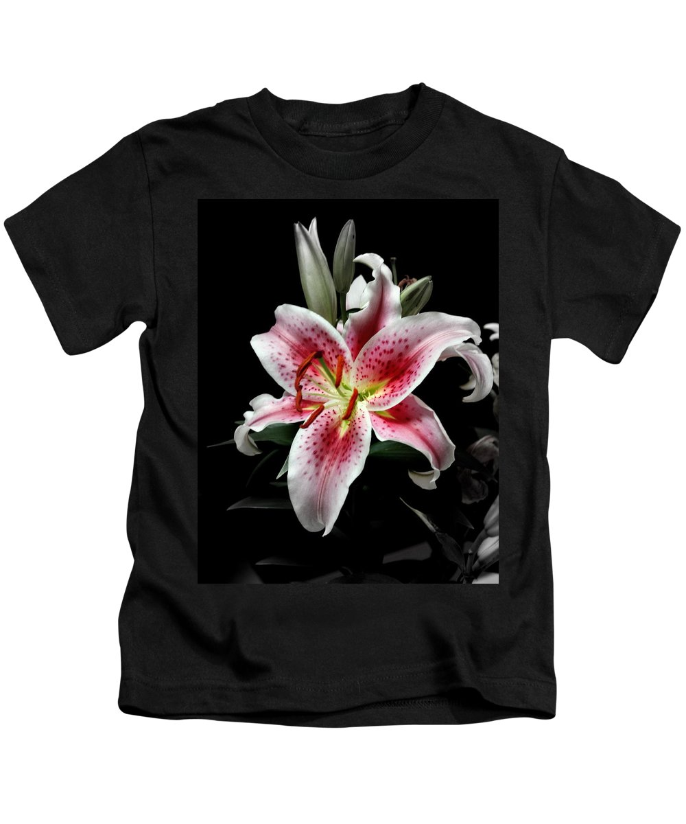 Flower Kids T-Shirt featuring the photograph Stargazer On Black 11x14 by Randall Thomas Stone
