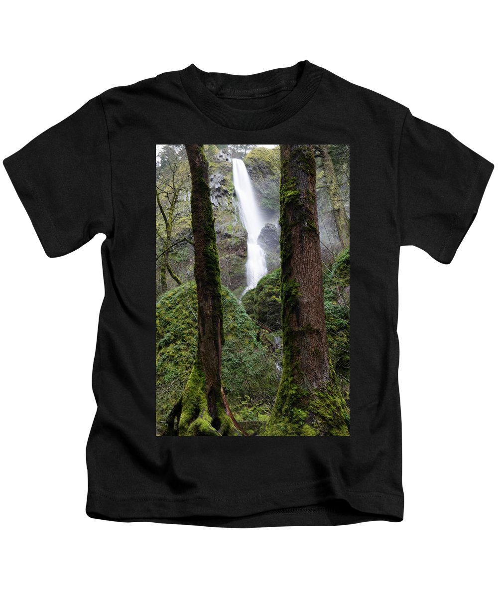 Waterfall Kids T-Shirt featuring the photograph Starvation Creek Falls Between The Trees by Jeff Swan
