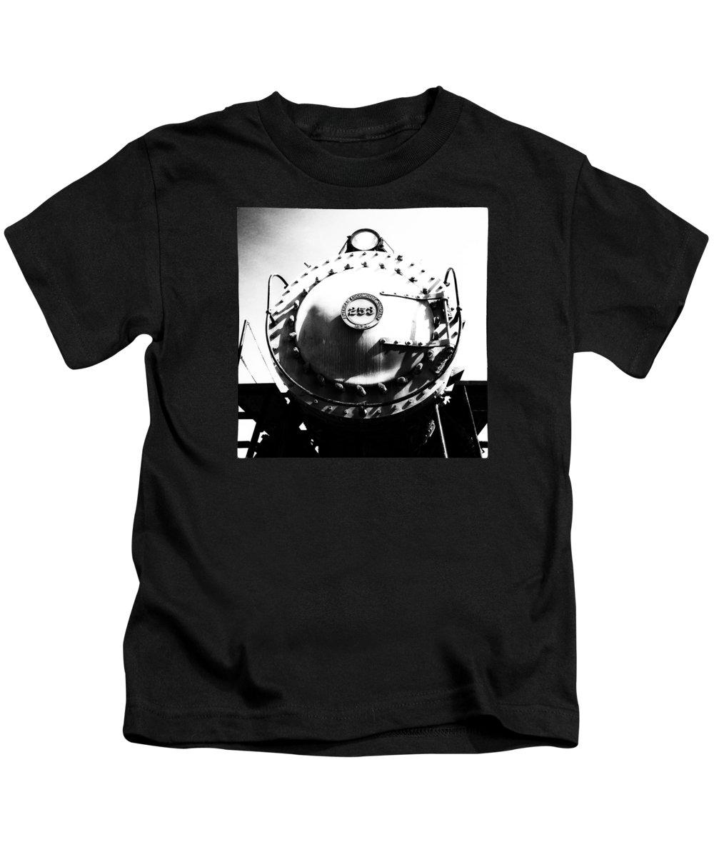 Black & White Kids T-Shirt featuring the photograph Steam Locomotive #253 by Karen Hanley Colbert