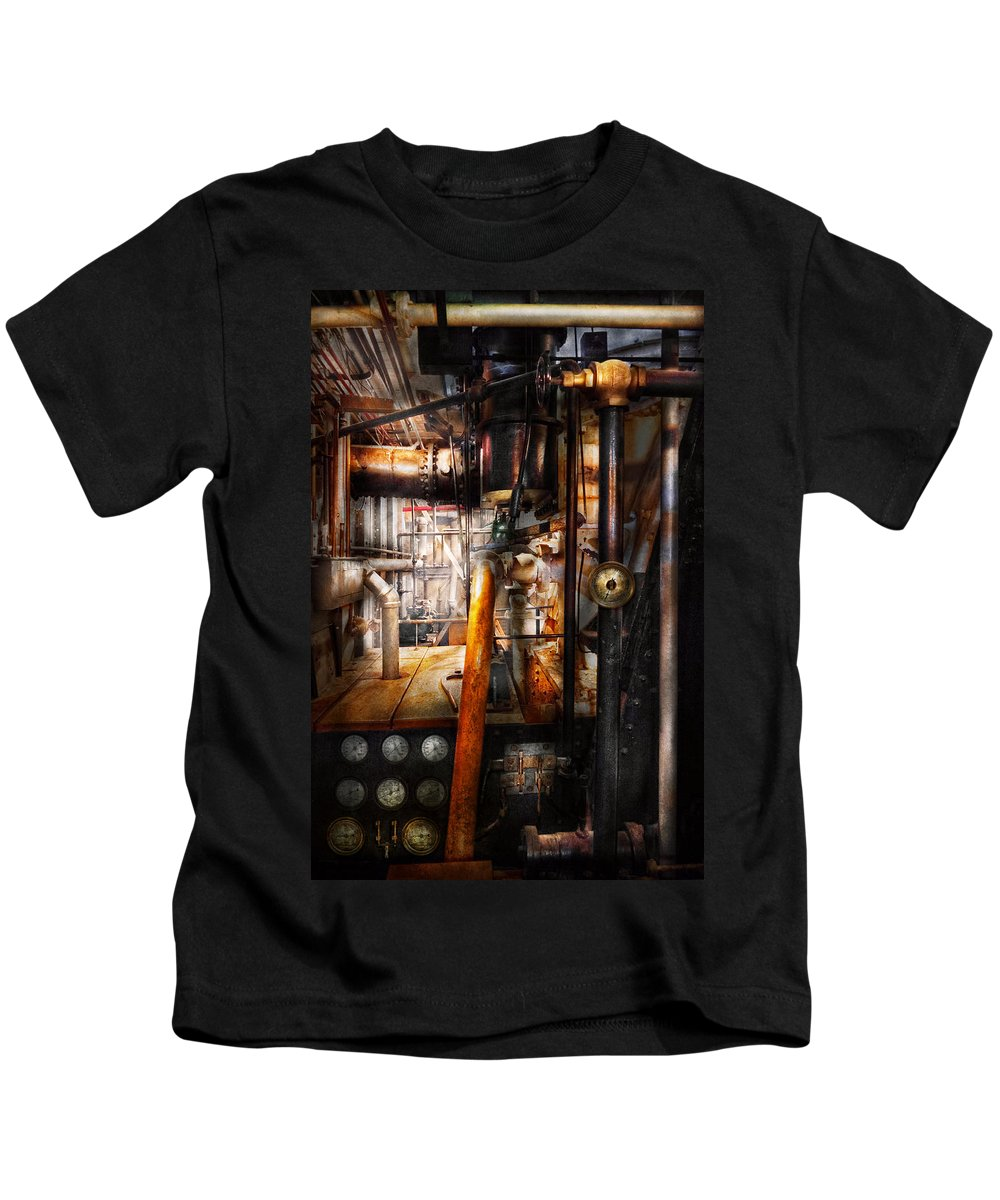 Steampunk Kids T-Shirt featuring the photograph Steampunk - Plumbing - Pipes by Mike Savad