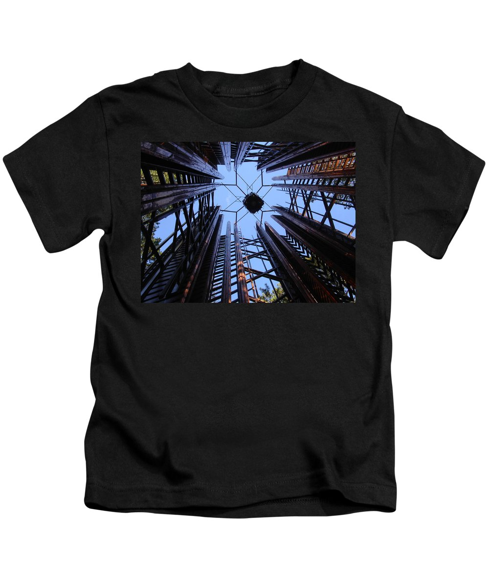 Steel Kids T-Shirt featuring the photograph Steel And Sky by Anne Cameron Cutri