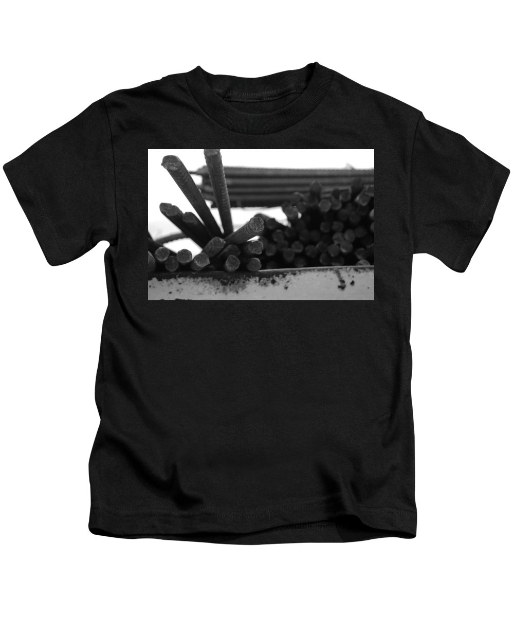 Black And White Kids T-Shirt featuring the photograph Steele Rods by Rob Hans