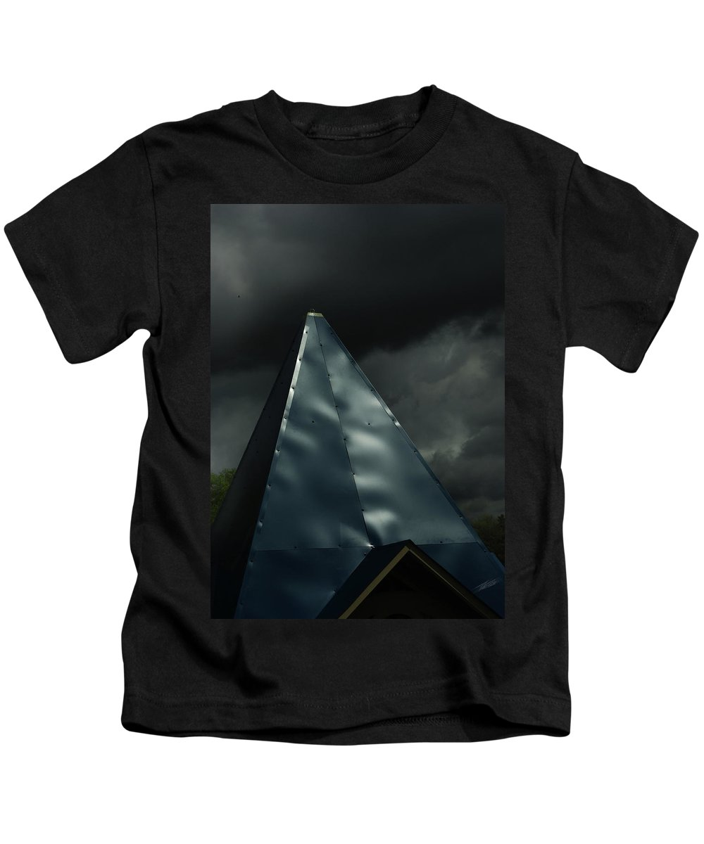 Steeple In The Clouds Kids T-Shirt featuring the photograph Steeple In The Clouds by Peter Piatt