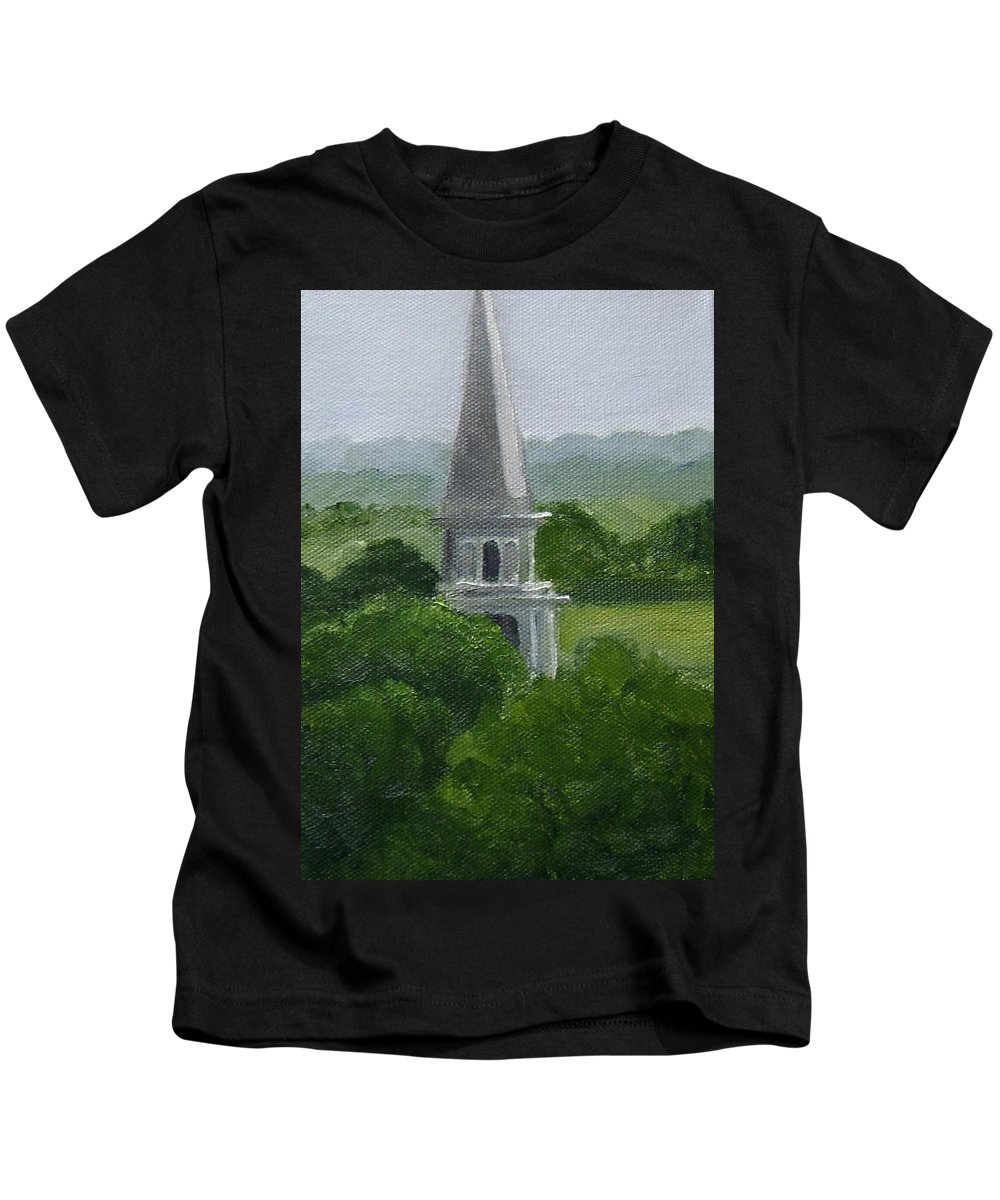 Steeple Kids T-Shirt featuring the painting Steeple by Toni Berry