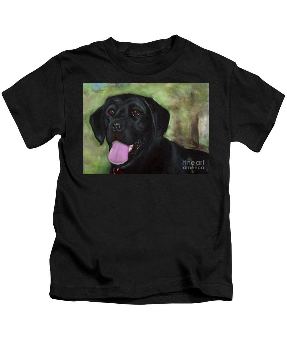 Black Lab Kids T-Shirt featuring the painting Stella Luna by Frances Marino