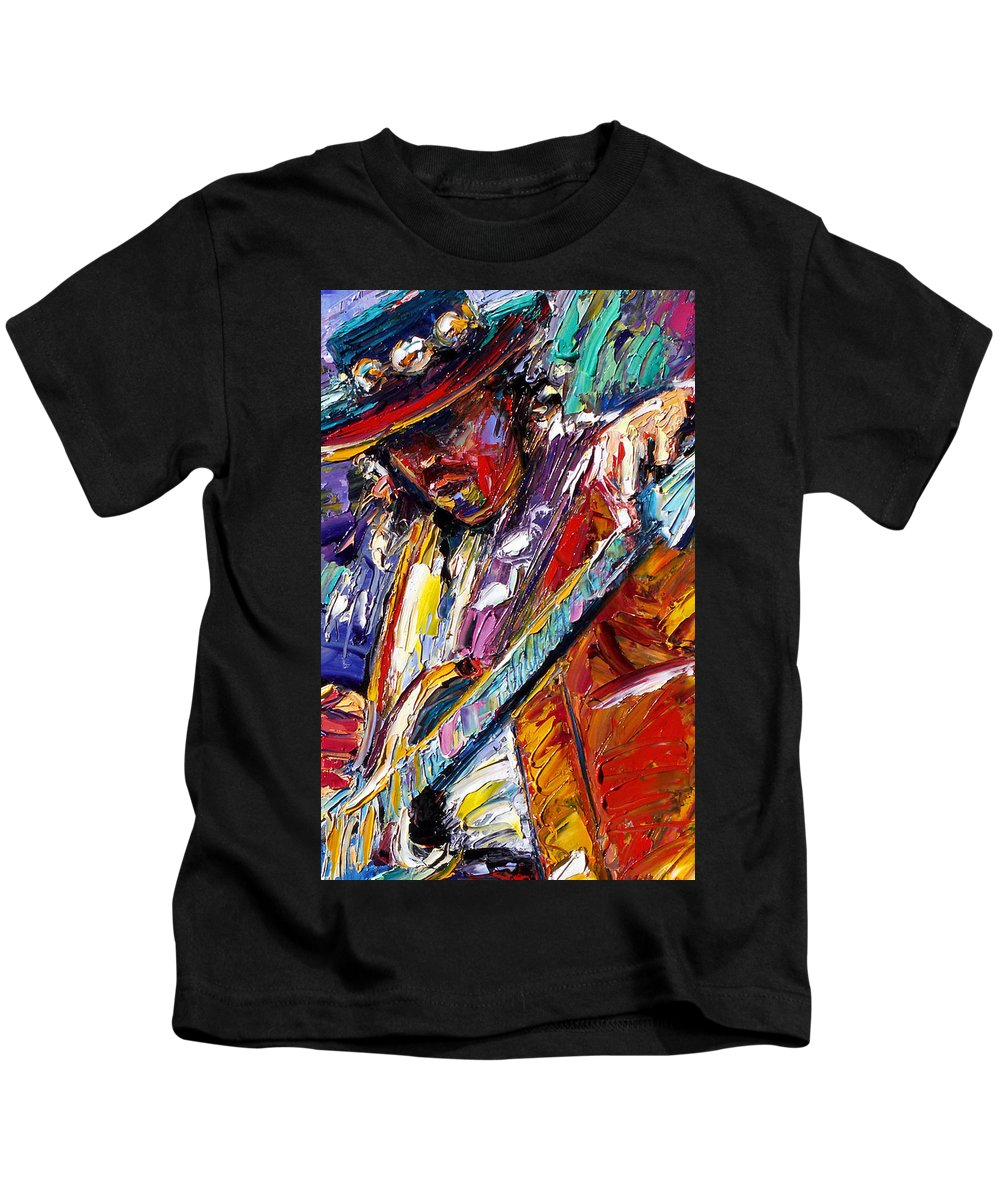 Rock Kids T-Shirt featuring the painting Stevie Ray Vaughan Number One by Debra Hurd