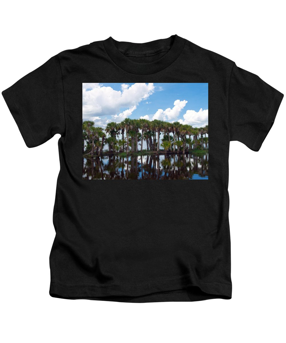 Florida; Water; Canal; Stick; Marsh; Drowned; Trees; Drown; Fellsmere; Sebastian; River; Indian; Clo Kids T-Shirt featuring the photograph Stick Marsh In Fellsmere Florida by Allan Hughes