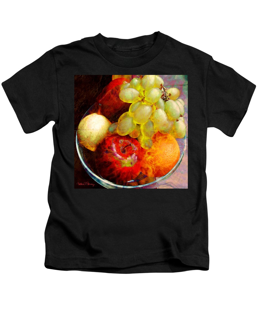 still Life Kids T-Shirt featuring the digital art Still Life Tiles by Barbara Berney