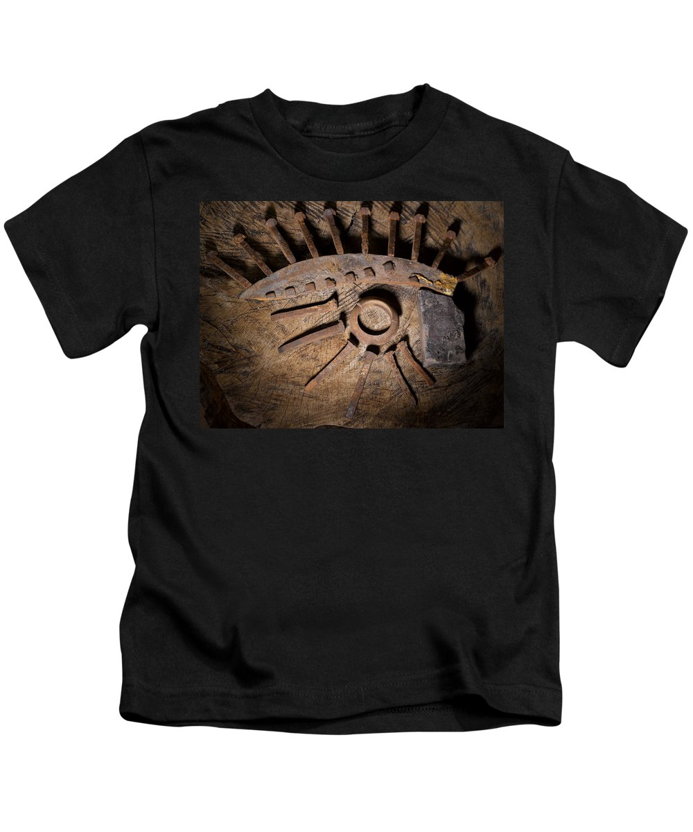Still Life Kids T-Shirt featuring the photograph Still Life With Railroad Debris by Angus Hooper Iii