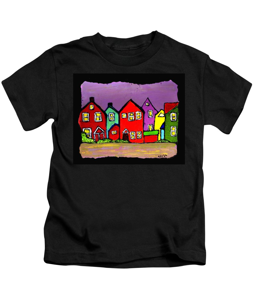 Houses Kids T-Shirt featuring the painting Still Standing by Wayne Potrafka