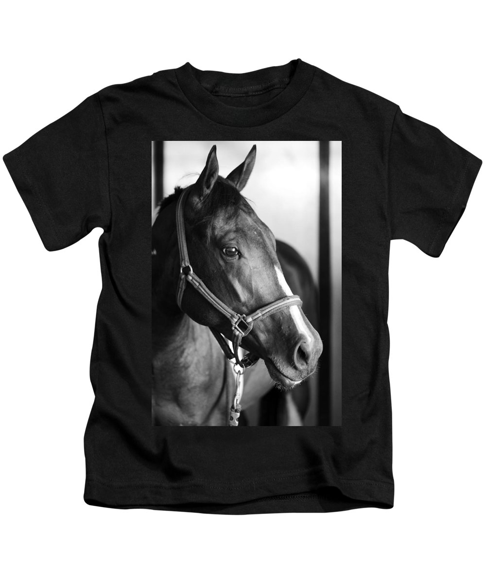 Horse Kids T-Shirt featuring the photograph Horse And Stillness by Marilyn Hunt