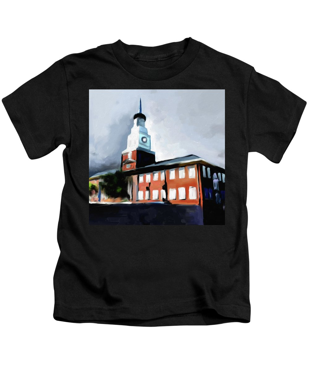 Chicago Kids T-Shirt featuring the painting Stock Yards National Bank 537 1 by Mawra Tahreem