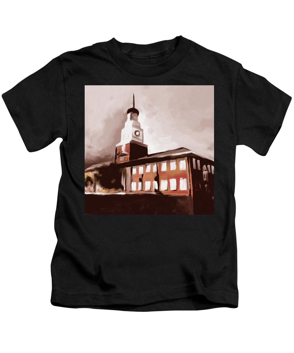 Chicago Kids T-Shirt featuring the painting Stock Yards National Bank 537 4 by Mawra Tahreem