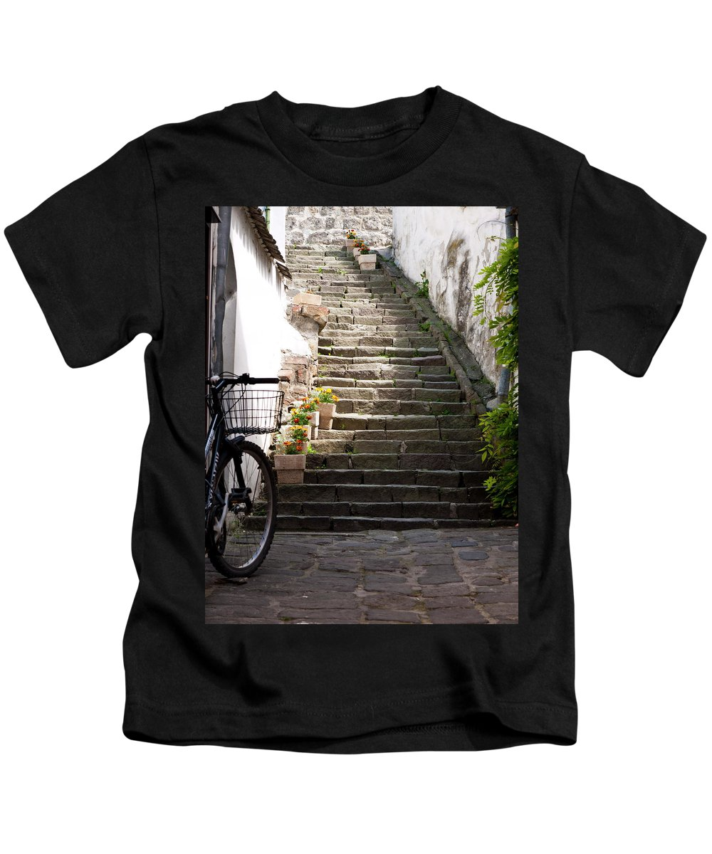 Stairs Kids T-Shirt featuring the photograph Stone Stairs by Rae Tucker