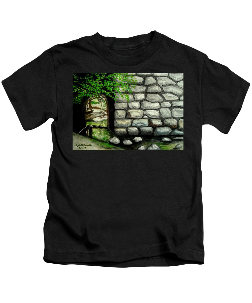 Landscape Kids T-Shirt featuring the painting Stone Tunnel by Elizabeth Robinette Tyndall