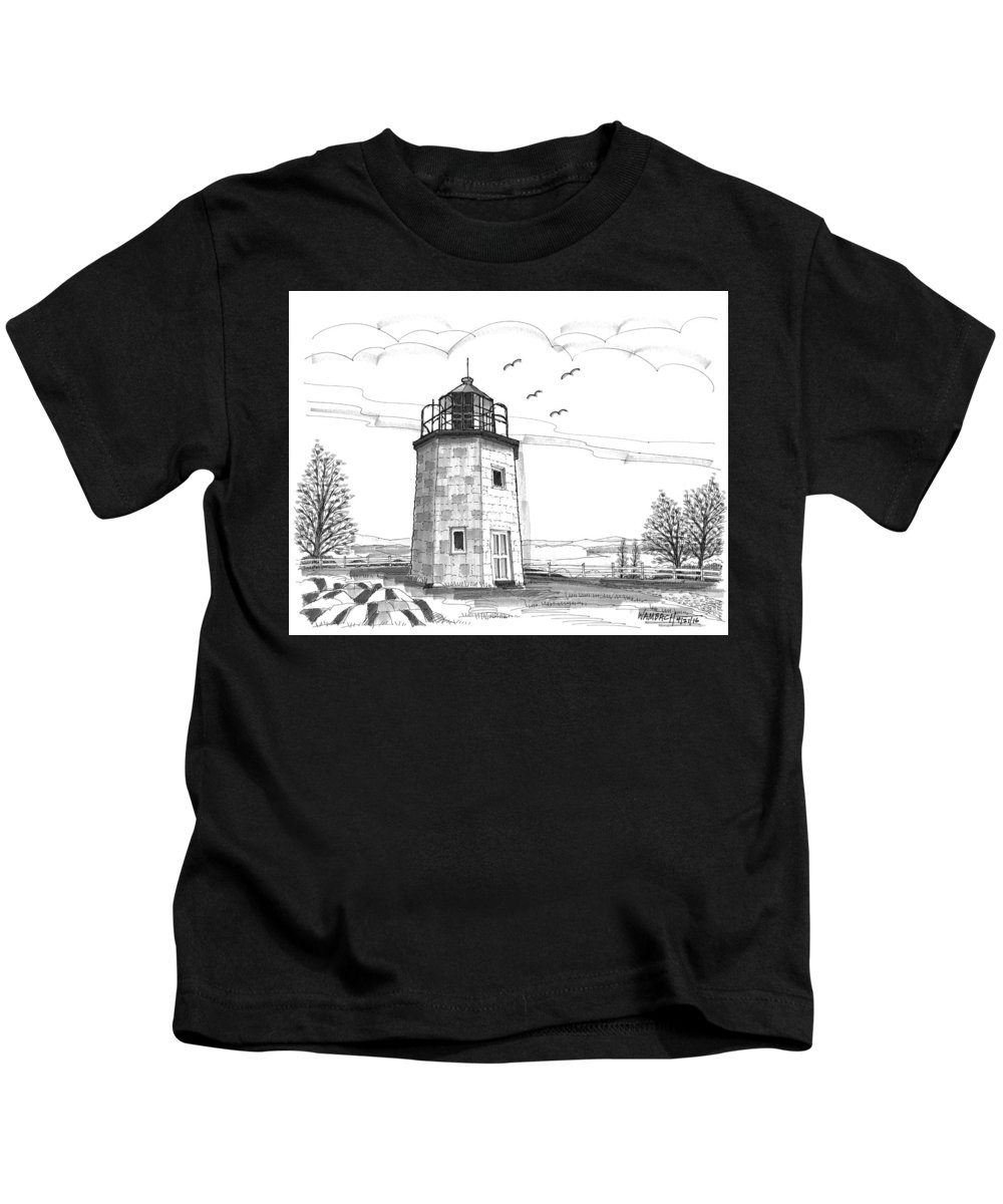 Landscape Kids T-Shirt featuring the drawing Stony Point Lighthouse by Richard Wambach