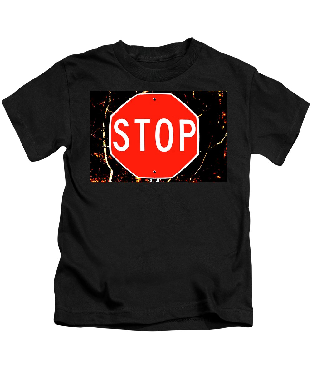 Stop Kids T-Shirt featuring the photograph Stop by Karol Livote