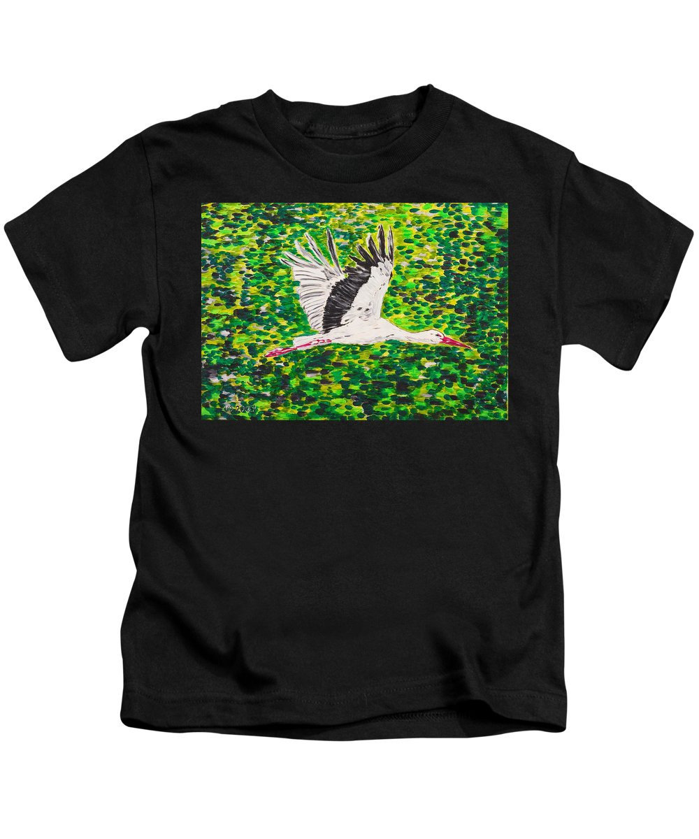 Stork Kids T-Shirt featuring the painting Stork In Flight by Valerie Ornstein