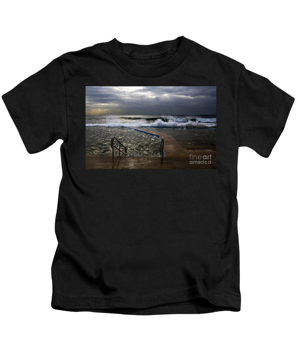 Storm Clouds Collaroy Beach Australia Kids T-Shirt featuring the photograph Stormy Morning At Collaroy by Sheila Smart Fine Art Photography