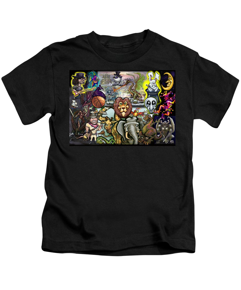 Story Kids T-Shirt featuring the painting Storytime by Kevin Middleton