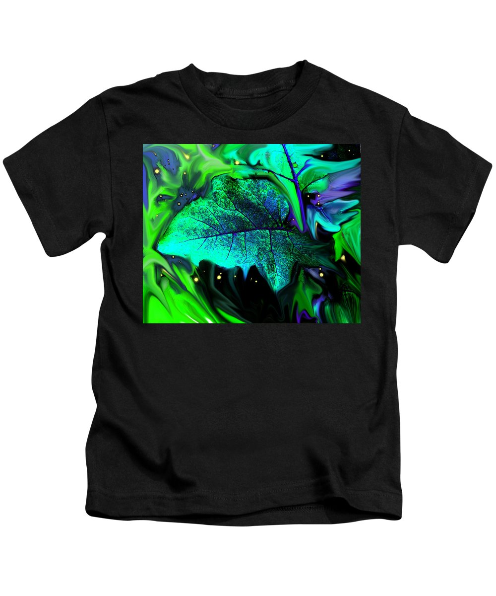 Abstract Kids T-Shirt featuring the digital art Strange Green World by Ian MacDonald