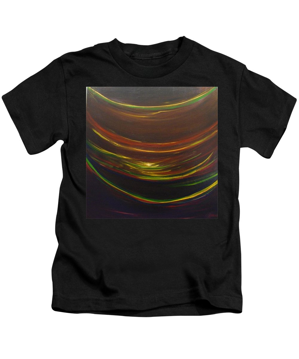 Rainbow Red Yellow Obama Kids T-Shirt featuring the painting Strata Surf by Jack Diamond