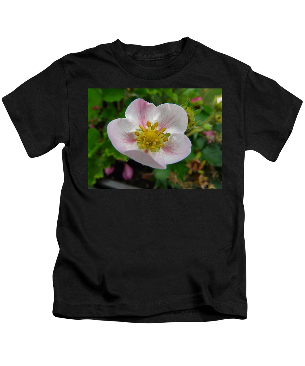Plant Kids T-Shirt featuring the photograph Strawberry Blossom by Valerie Ornstein