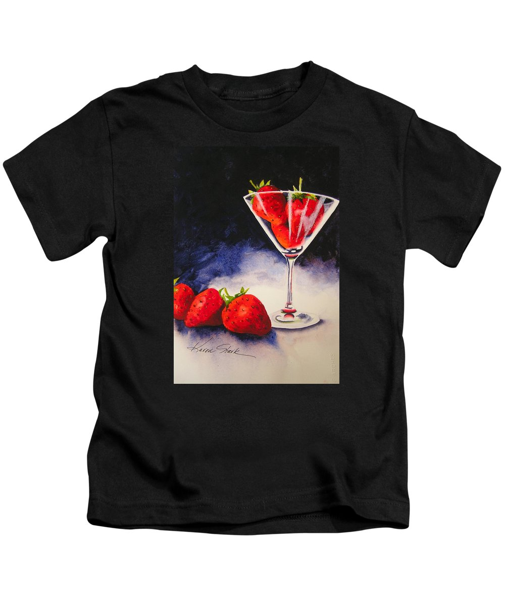 Strawberry Kids T-Shirt featuring the painting Strawberrytini by Karen Stark