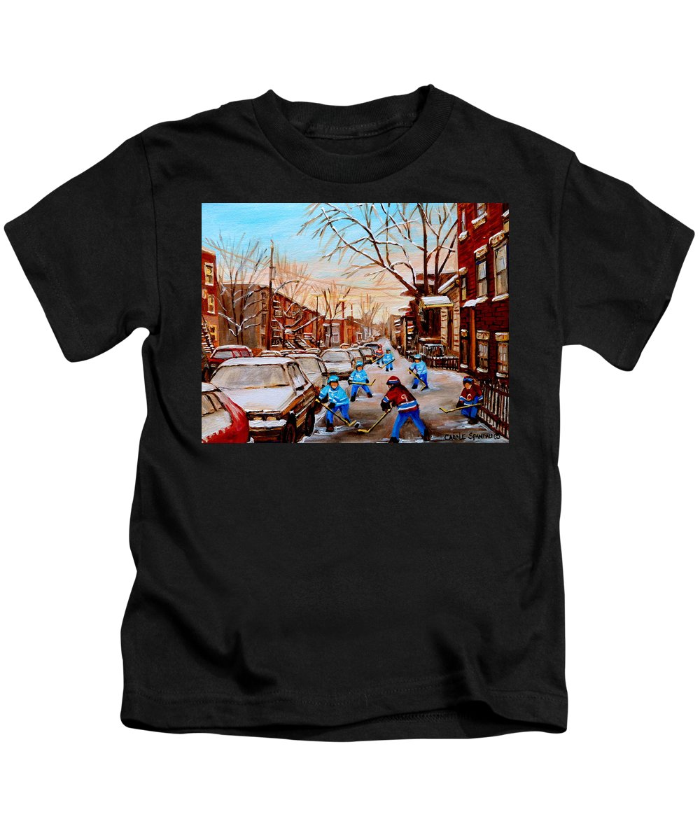 Streethockey Kids T-Shirt featuring the painting Street Hockey On Jeanne Mance by Carole Spandau