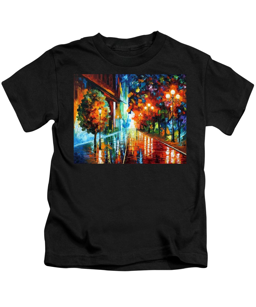 Afremov Kids T-Shirt featuring the painting Street Of Hope by Leonid Afremov